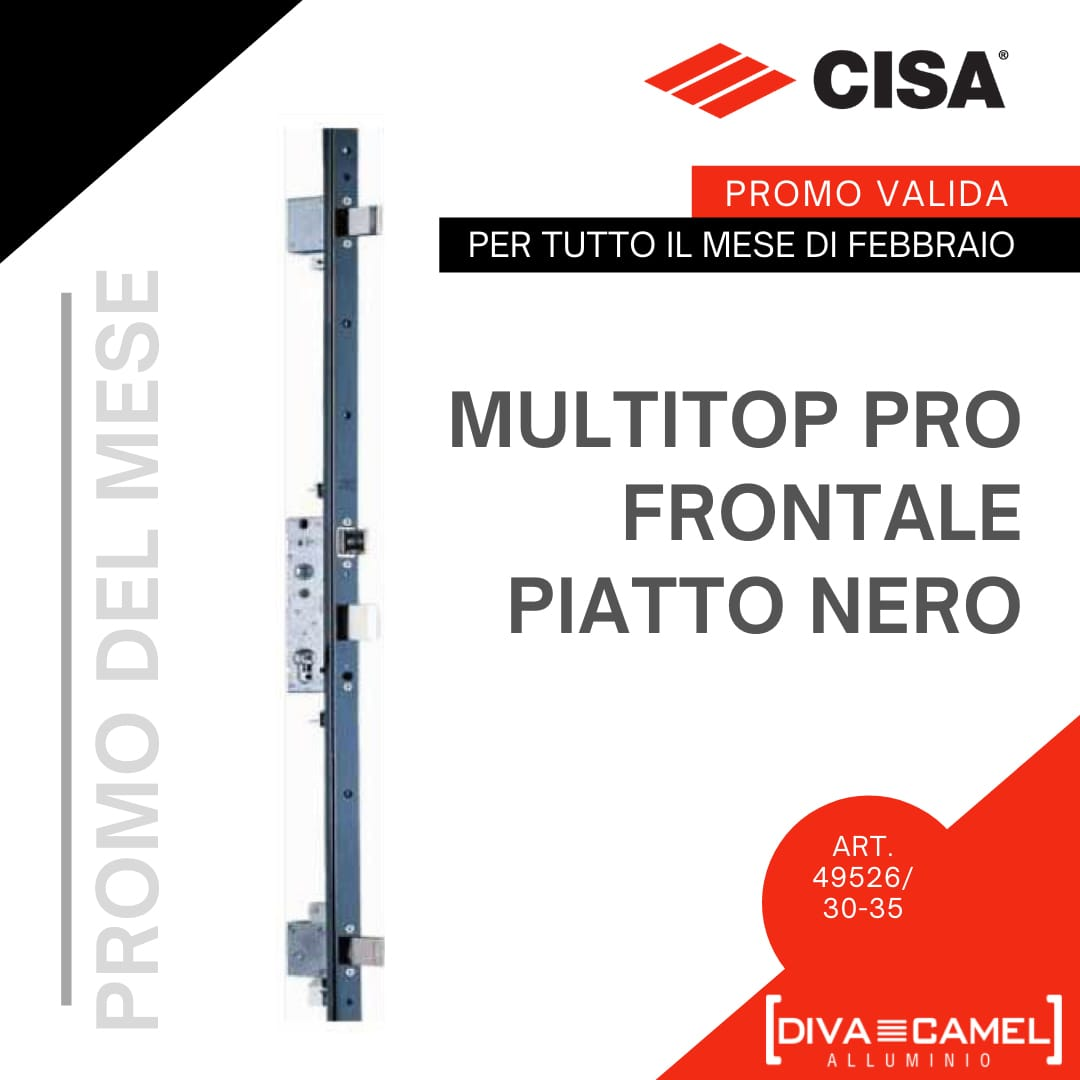 Serrature CISA Multitop Pro Frontale Piatto Nero